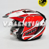 Helm INK T1 Motif White Red Fluo Red