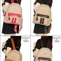 Gucci GG Supreme Backpack Canvas and Studded Leather (15055)