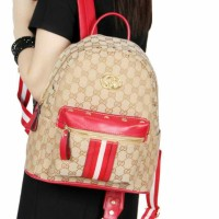 Gucci GG Supreme Backpack Canvas and Studded Leather 15055