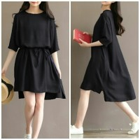 [Lea black RO] dress wanita twiscont hitam