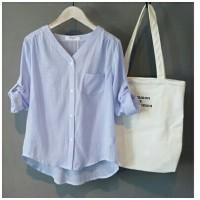 [stripe momon blue RO] blouse wanita katun salur biru