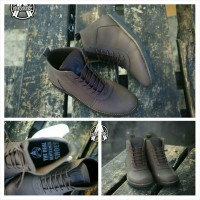 Jual sepatu boots pria. sepatu avail brodo kulit pullup best seller Murah