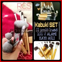 Kabuki Set Bamboo Wooden Kuas MakeUp 11pcs ~ Make Up Brush Pouch