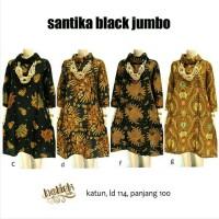 Dress Batik Solo. Tunic Batik Santika Black Jumbo Serie Berkualitas
