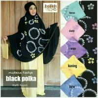 Mukena Bali Rayon. Mukena Tiedye Black Polka Series Limited