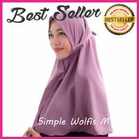 Kerudung Hijab Jilbab Instan Simple Syari Khimar Wolfis Wolvis Size M
