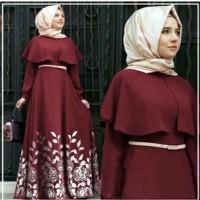 Jual gamis turki maroon abaya 3in1 +sabuk +pashmina Murah