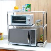 Oven Microwave Storage Rak dapur bumbu besi stainless portable 2 susun