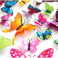 [ DOUBLE LAYER ] Butterfly Wall Sticker - Stiker dinding kupu-kupu 3D