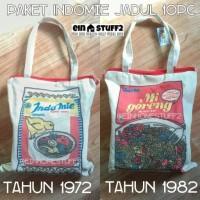 Jual Paket Indomie Jadul Vintage Tempoe Doeloe Isi 10 mie & Tas Kanvas Murah