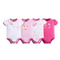 Baju Bayi - Mom n Bab Short Bodysuit 4in1 Pink Giraffe (isi 4 pcs)