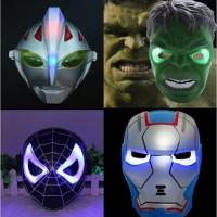 Jual Topeng Lampu Nyala LED Ultraman bima ironman spiderman power anger barang unik reseller dropship grosir ecer Murah