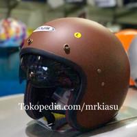 zeus 380 matt brown doff coklat dop helm retro bogo harley M L XL