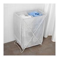 Ikea Torkis Keranjang Laundry, Putih Abu, Dapat Dicuci, Sekat 2, 90 L