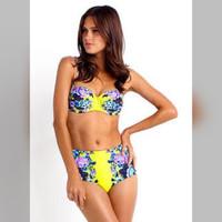 Jual Bikini Highwaist Push Up Jumbo Size XL XXL Swimsuit Swimwear Bra Murah