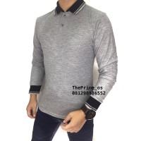 kaos polo shirt , polo shirt pria , kaos polo Panjang Abu Tua 2