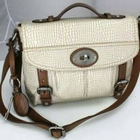 Fossil Maddox Top Handle Satchel Oatmeal Leather