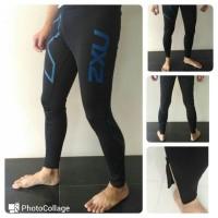 Celana Base Legging / Fitness Man 2XU Compression Black Blue