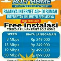 Jual internet rumah sepuasnya bolt home unlimited wifi Murah