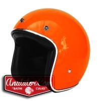 Helm Orange Hijau Glossy List Chrome Gojek Grabbike Caferacer Fino new