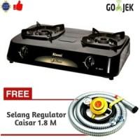 Paket Lengkap Rinnai RI-302S Kompor Gas 2 Tungku & Caisar Selang