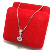 Perhiasan Kalung + Liontin Perak Silver 925 Lapis Emas Putih Original