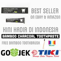Jual 105gr Odol Pemutih Gigi Bamboo Charcoal Toothpaste + Sikat Gigi Kayu Murah
