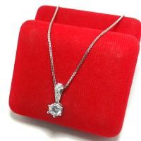 Kalung + Liontin Perak Silver 925 Lapis Emas Putih/perhiasan Silver