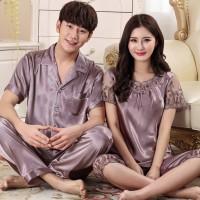 Piyama couple satin impor baju tidur pengantin baru kado nikah PYS-66