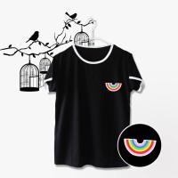 Ringer Tee / T-shirt / Kaos Rainbow  Warna Hitam
