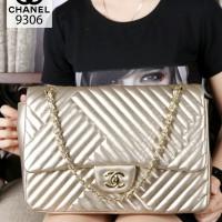Tas Chanel Yuni Qlo Chevron Maxi Lambskin Gold Semi Ori 9306