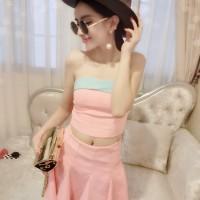 JES-SB0162 crop top skirt import korea-sexy dress mini wanita-setelan