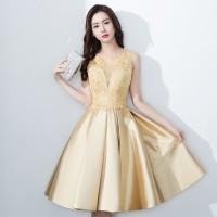 1707077 Emas Satin Pendek Wedding Party Dress