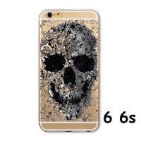 OP4825 SOFT JELLY CASE BLACK SKULL FOR IPHONE 6 6S 47 INCH KODE Bimb5