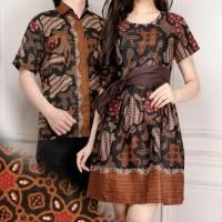 Jual couple batik tiara dress midi dan kemeja sarimpit Murah
