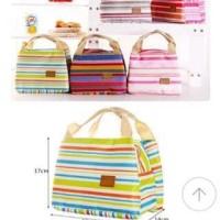 Cooler Bag Motif Salur ( Tas penahan panas / dingin pada makanan )