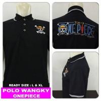 kaos kerah polo wangky logo tengkorak onepiece one piece topi jerami