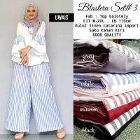 blastera set 3 / setelan celana kulot n blouse linen / motif garis xxl