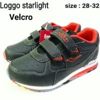sepatu sekolah anak black loggo starlight velcro termurah dan terbaru
