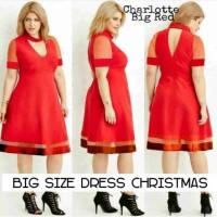 Jual Supplieronlineshop-DRESS BIG SIZE PESTA JUMBO MERAH CHOKER-CHARLOTTE Murah