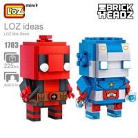 Jual Loz 1703 Mini Brick Headz Superhero Captain America dan Deadpool Murah