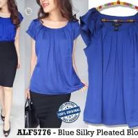 Jual E882 Alfani Blue Silky Pleated Blouse baju branded original Murah