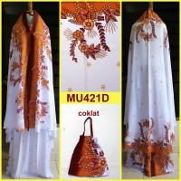 Jual Mukena Bali Dewasa Semi Jumbo Dasar Putih Motif Bunga-MU421D KMI Murah