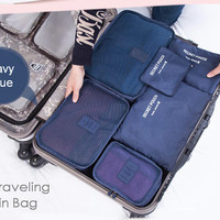 Jual 6 In 1 Traveling Bag In Bag Organizer / 1 Set Isi 6 Pcs Organizer Murah