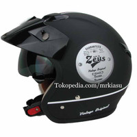 zeus 381 matt black doff white hitam dop putih helm retro bogo harley