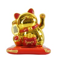 Jual Patung Kucing Lucky Cat Maneki Neko 7 Cm Solar Emas Gold Merah Murah