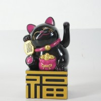 Jual Patung Kucing Fu Maneki Neko 14 Cm Hitam Beruntung Lucky Cat Murah