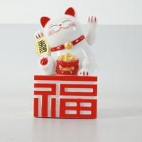 Jual Patung Kucing Fu Maneki Neko 14 Cm Putih Merah Beruntung Lucky Cat Murah