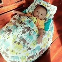 Kasur Bayi Bouncer Baby Beanbag Blue Elephant Lucu Murah