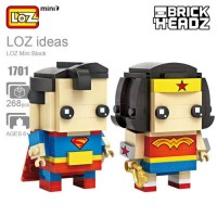 Jual Loz 1701 Mini Brick Headz Superhero Superman dan Wonderwoman Murah